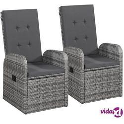 rozkładane fotele ogrodowe, 2 szt, poduszki, rattan pe, szare marki Vidaxl