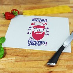 Hipster Santa - deska do krojenia - Deska szklana 28,5x20cm