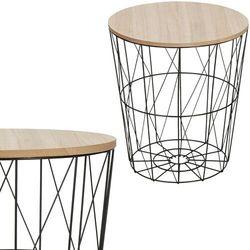 Stolik kawowy loft, kosz metalowy industrialny 40 cm czarny marki Springos
