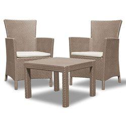 Zestaw mebli ogrodowych ALLIBERT Rosario Set (Dwa fotele + stolik) Cappuccino-piaskowy + Zamów z DOSTAWĄ JUT