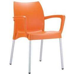 Krzesło z podłokietnikami ogrodowe z tworzywa kontraktowe Dolce pomarańczowe, towar z kategorii: Krzesła ogrodowe