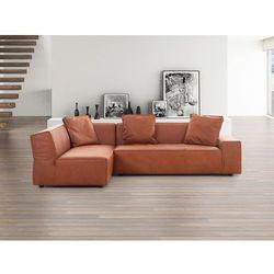 Sofa koniakowa - Naroznik skórzana - ADAM P - produkt dostępny w Beliani