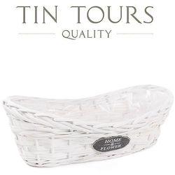 Tin tours sp.z o.o. Biała balkonówka wiklinowa 35x16x12/9h cm