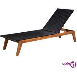 vidaXL Leżak, polirattan i lite drewno akacjowe