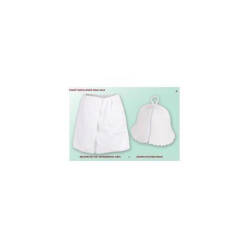 Kilt ręcznik 50*140cm 100% bawełna + czapka biała do sauny a marki Produkcja własna