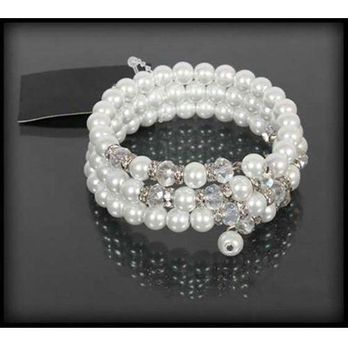 Bransoletka z białych pereł i kryształków, kolor biały
