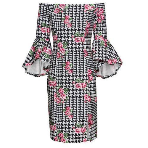334a1bbe07 Sukienka z rękawami z falbanami biało-czarny w kwiaty