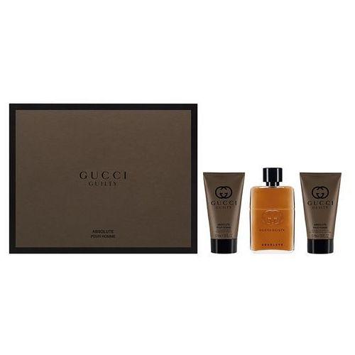 guilty absolute pour homme zestaw edp 50 ml + balsam po goleniu 50 ml + żel pod prysznic 50 ml dla mężczyzn marki Gucci