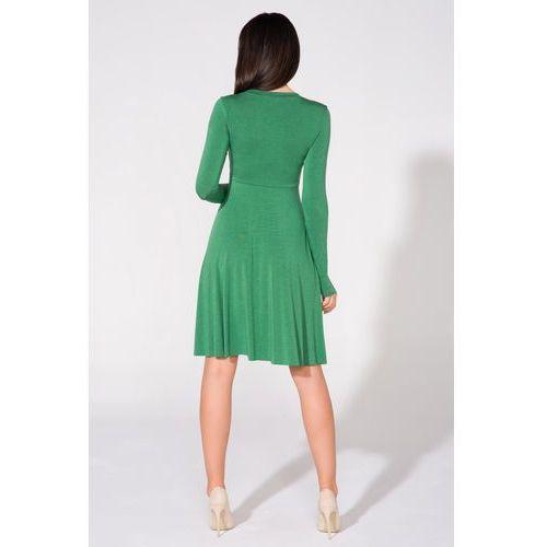 6674f640a2 Rozkloszowana sukienka do kolan z długim rękawem zielona t146 ...