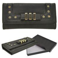 Czarny portfel damski ze złotymi ozdobami - czarny