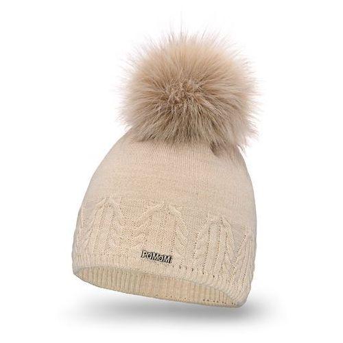 Czapka damska - beżowy - beżowy \ pompon futerkowy - długi włos marki Pamami
