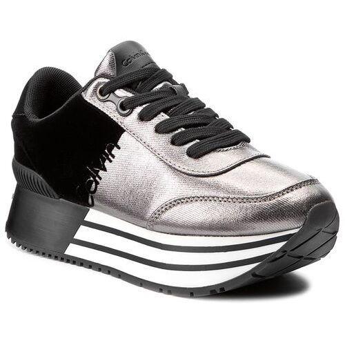 Sneakersy jeans - carlita r0689 pewter/black, Calvin klein