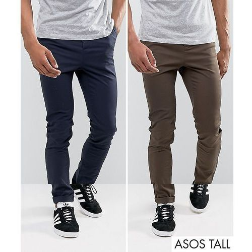 ASOS TALL 2 Pack Skinny Chinos In Brown & Navy SAVE - Multi