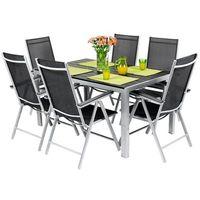 Edomator.pl Meble ogrodowe składane aluminiowe modena stół i 6 krzeseł - czarne - czarny
