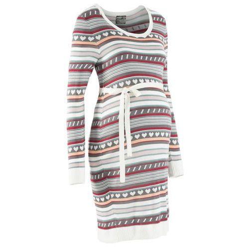 Sukienka ciążowa z dzianiny w norweski wzór bonprix dymny szary wzorzysty, kolor szary