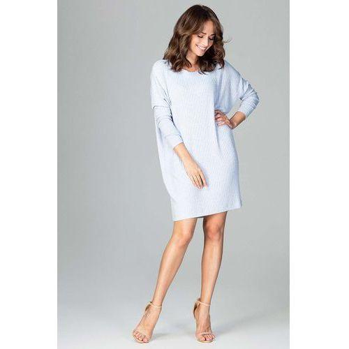 c6a6f9feb6 Katrus Jasnoniebieska oversizowa sukienka z dzianiny w prążek z długim  rękawem