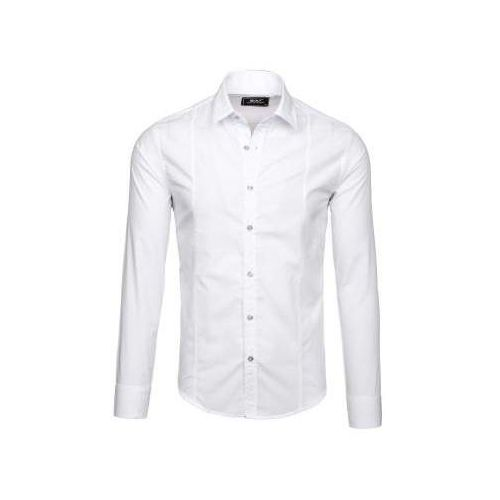 Koszula męska elegancka z długim rękawem biała 6944, Bolf