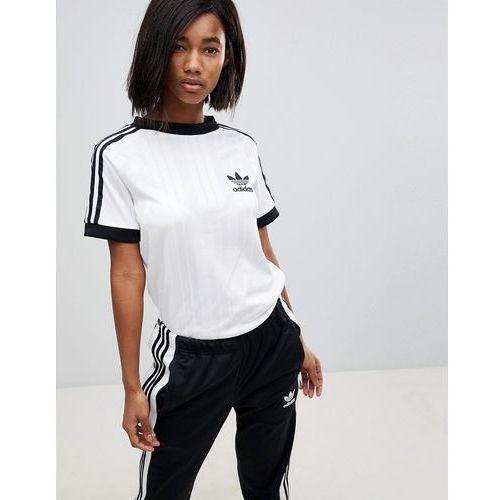 085492a4d three stripe polyknit t-shirt in white - white marki Adidas originals