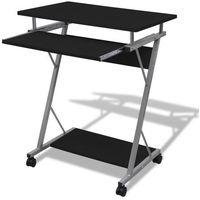 Vidaxl  biurko komputerowe z ruchomą podstawką na klawiaturę (czarne)