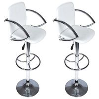 Vidaxl komplet 2 hokerów w kolorze białym z oparciem, 110cm wys.
