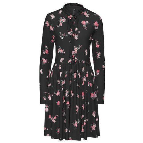 Sukienka shirtowa w kwiaty bonprix czarny w kwiaty