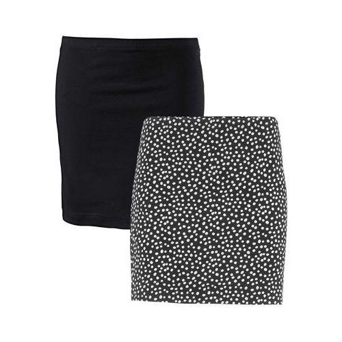 Spódnica shirtowa ze stretchem (2 szt.) czarny + czarny w kropki, Bonprix, 32-50