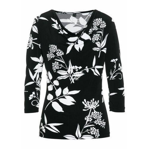 """Shirt z dekoltem """"wodą"""" czarno-biały z nadrukiem marki Bonprix"""