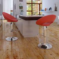 Vidaxl stołki barowe regulowana wysokość, nowoczesne, czerwone x2