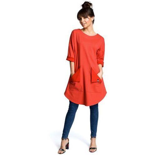 9cccb8fab3 Czerwona codzienna trapezowa sukienka tunika z kieszeniami