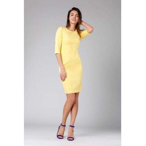 fbdcba7c196768 Zobacz w sklepie Żółta Klasyczna Ołówkowa Sukienka z Rękawem za Łokcie.  Nommo