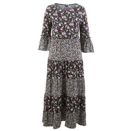 Długa sukienka z dżerseju, z kolekcji Maite Kelly bonprix czarny w kwiaty, kolor wielokolorowy