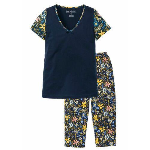 71c677c85e7336 Zobacz w sklepie Bonprix Piżama z krótkim rękawem i spodniami 3/4  ciemnoniebieski z nadrukiem