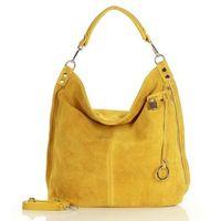 Żółta ponadczasowa torebka worek skórzana mazzini