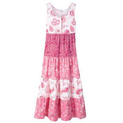 9021c7fee3 Letnia sukienka dziewczęca bonprix biel wełny - jeżynowo-czerwony