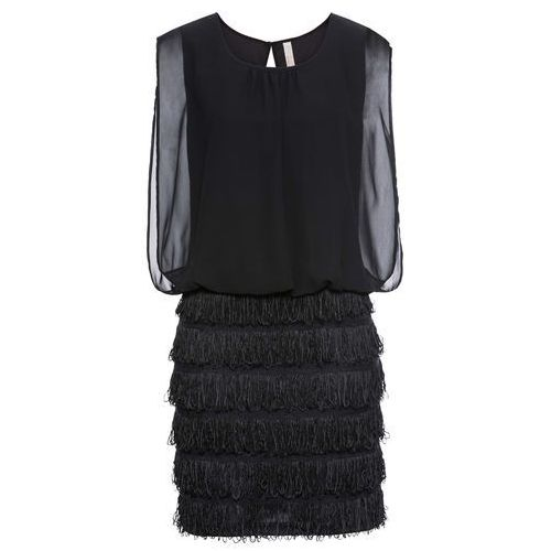 Sukienka z koronką i frędzlami bonprix czarny, w 4 rozmiarach
