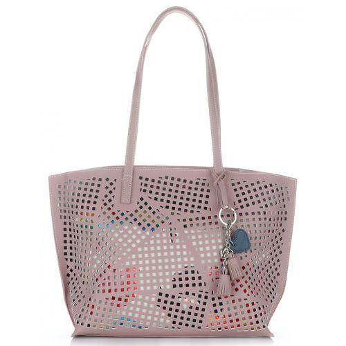 f271f024335f9 David jones Uniwersalne ażurowe torebki damskie z kosmetyczką renomowanej  firmy różowe (kolory)