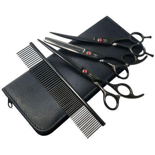 Purple dragon Nożyczki fryzjerskie groomerskie 3 sztuki black 7,0 + stalowy grzebień ze4-gr