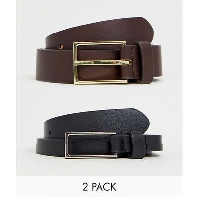 cd337887145 ASOS DESIGN 2 pack faux leather smart slim belt in black and brown SAVE -  Multi ASOS