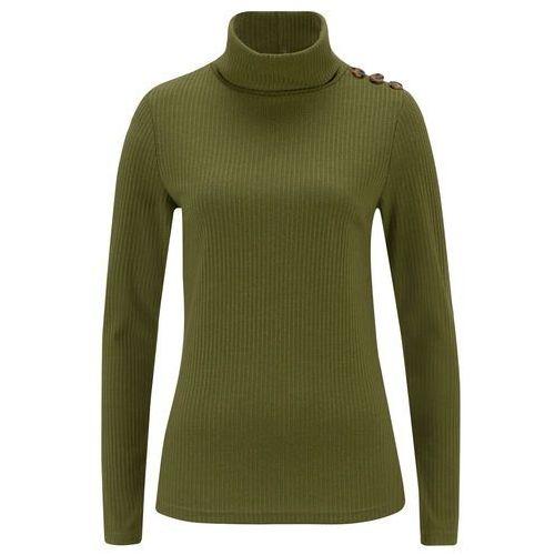 Shirt z golfem i guzikami, w prążek bonprix zielony laurowy