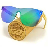 Drewniane okulary przeciwsłoneczne Niwatch Pavo Green Mirror