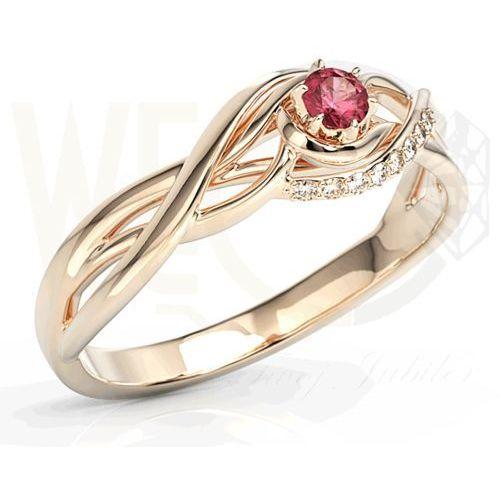 Pierścionek z różowego złota z rubinem i brylantami bp-71p-rub/d - różowe \ rubin marki Węc - twój jubiler
