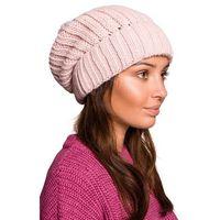 Ciepła czapka z wywijanym mankietem - różowa