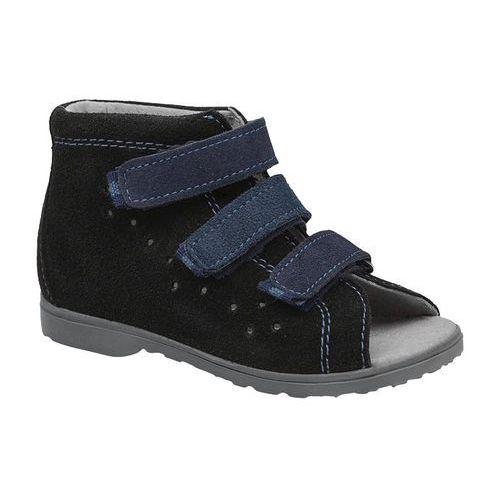 Sandałki Profilaktyczne Ortopedyczne Buty DAWID 1041 Czarne CZN - Czarny ||Granatowy, kolor czarny