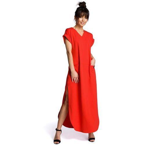 8d29bb7eca Czerwona wyjściowa długa sukienka z rozcięciami na bokach