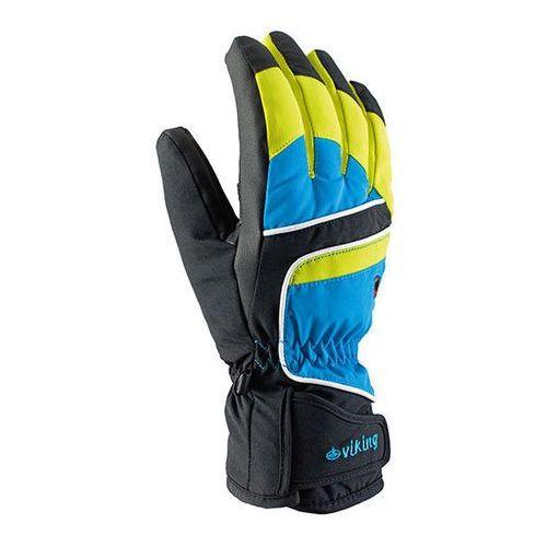 Viking Rękawice narciarskie biset - czarno-niebiesko-limonkowy (5901115739043)