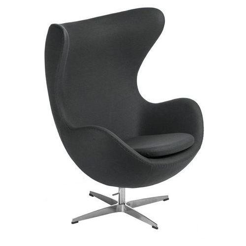 Żółty Fotel JAJO Wełna Naturalna Inspirowany Projektem Egg Chair | Sklep z meblami DesignTown, kolor szary