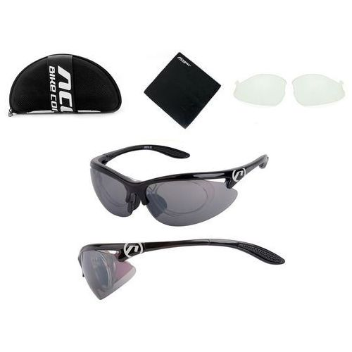 b5651bd26ba078 Accent Okulary onyx czarne połysk 2 pary soczewe + adapter ceny ...