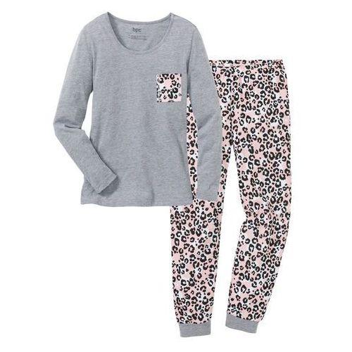 5d735cbde064ce Zobacz w sklepie Piżama szary melanż - pudrowy jasnoróżowy z nadrukiem,  Bonprix, L-XXXXL