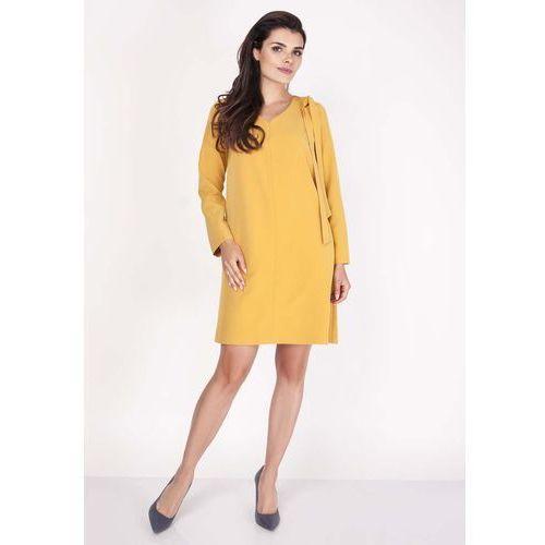 Żółta Sukienka z Dekoltem w Serek z Ozdobną Szarfą na Ramieniu, NA204ye