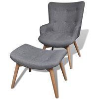 Vidaxl tapicerowany fotel z podnóżkiem, kolor szary (8718475917540)